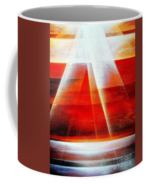 Hope.light.ocean.sunrise.sun.sky.landscape.spiritual.peace.impressionism.contemporary.energy.majestic.abstract Coffee Mug featuring the painting Hope by Kumiko Mayer