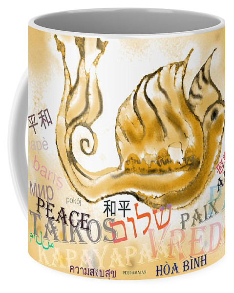 Peace Coffee Mug featuring the digital art Peace All Over The World by Sandrine Kespi
