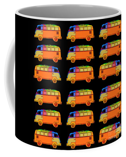 Surfer Coffee Mug featuring the photograph 18 Surfer Vans by Edward Fielding