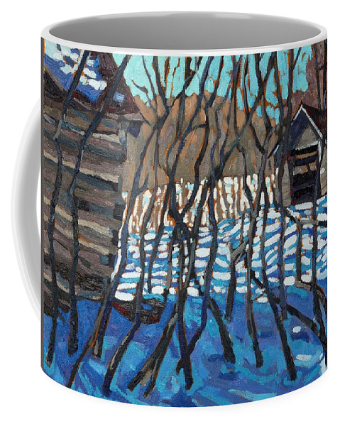 Log Coffee Mug featuring the painting 1840 Farm by Phil Chadwick