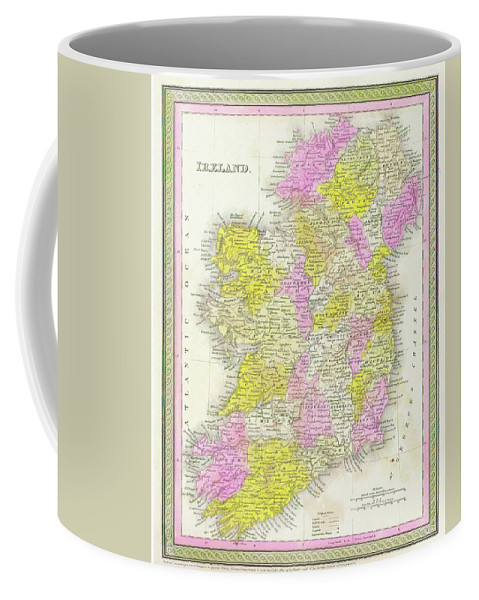 1850 Coffee Mug featuring the digital art 1850 Vintage Map Of Ireland by Bill Cannon
