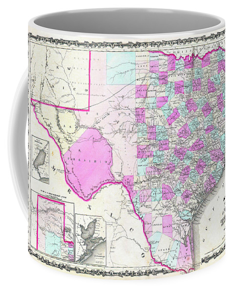 1862 Coffee Mug featuring the digital art 1862 Map Of Texas by Bill Cannon