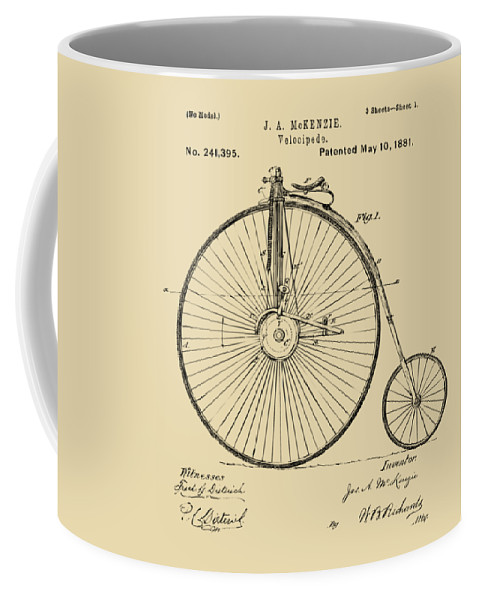 Velocipede Coffee Mug featuring the digital art 1881 Velocipede Bicycle Patent Artwork - Vintage by Nikki Marie Smith