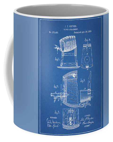 1883 Beer Faucet Design Coffee Mug featuring the drawing 1883 Beer Faucet Design by Dan Sproul