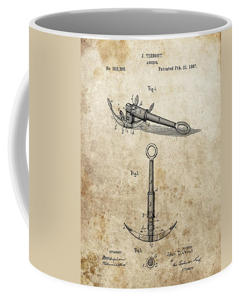 1887 Anchor Patent Coffee Mug featuring the drawing 1887 Anchor Patent by Dan Sproul