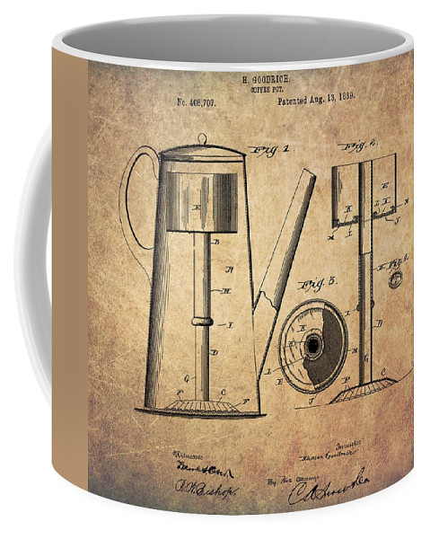1889 Coffee Pot Patent Coffee Mug featuring the drawing 1889 Coffee Maker Patent by Dan Sproul