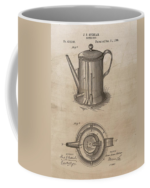 1889 Coffee Pot Patent Coffee Mug featuring the mixed media 1889 Coffee Pot Patent Illustration by Dan Sproul