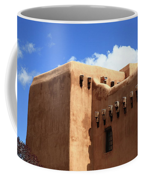 Adobe Coffee Mug featuring the photograph Santa Fe - Adobe Building by Frank Romeo