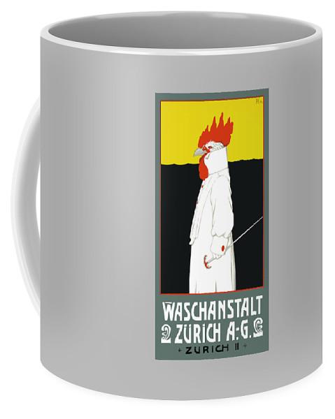 Switzerland Coffee Mug featuring the digital art 1904 Waschanstalt Zurich Advertising Poster by Retro Graphics