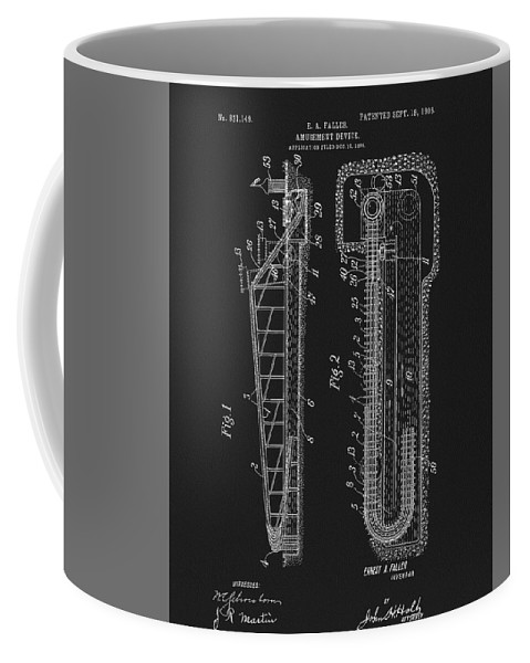 1906 Roller Coaster Patent Coffee Mug featuring the mixed media 1906 Roller Coaster Patent by Dan Sproul