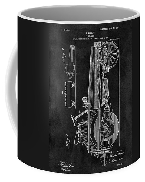 1907 Tractor Patent Coffee Mug featuring the drawing 1907 Tractor Blueprint Patent by Dan Sproul