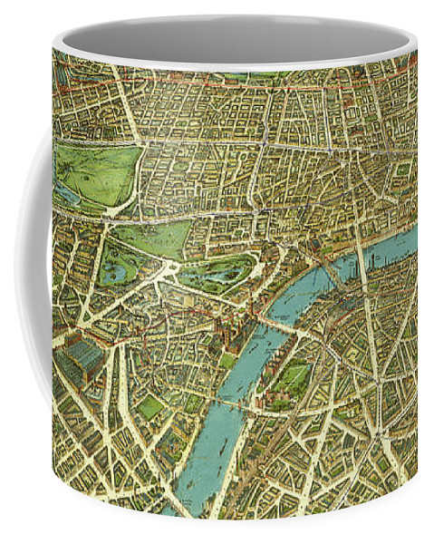 Travel Coffee Mug featuring the mixed media 1908 London Vintage Map Poster by Carsten Reisinger