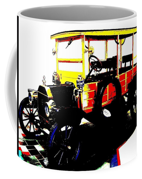 1912 Coffee Mug featuring the digital art 1912 Ford Model T Taxi by Will Borden