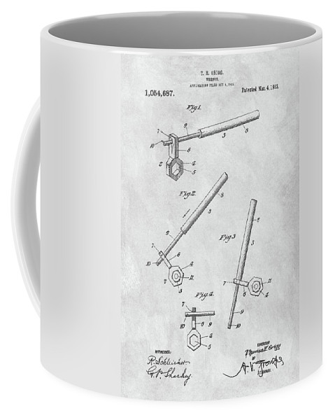 1913 Wrench Patent Coffee Mug featuring the drawing 1913 Wrench Patent Illustration by Dan Sproul