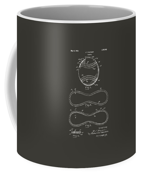 Baseball Coffee Mug featuring the digital art 1928 Baseball Patent Artwork - Gray by Nikki Marie Smith