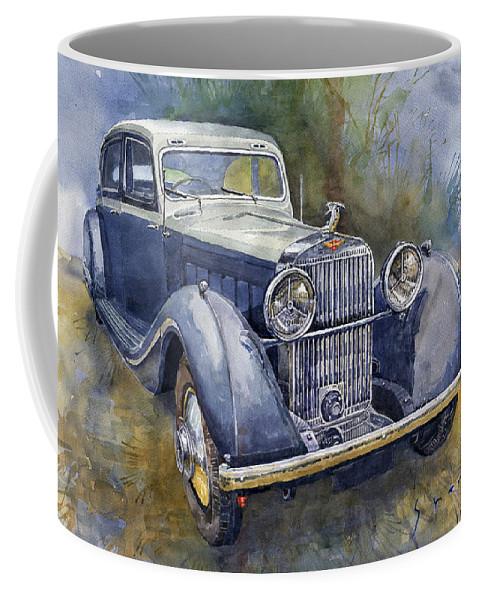 Shevchukart Coffee Mug featuring the painting 1938 Hispano Suiza J12 by Yuriy Shevchuk