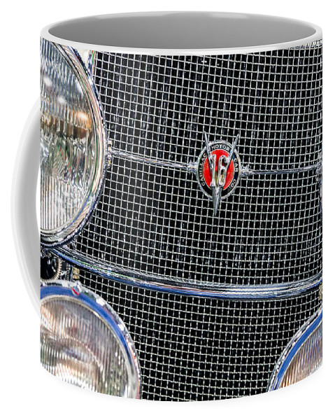 1931 Cadillac Phaeton Coffee Mug featuring the photograph 1931 Cadillac Phaeton Grille And Headlights by SR Green