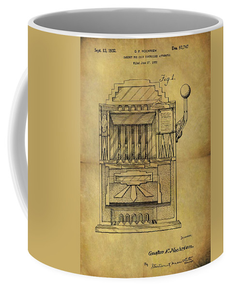 Slot Machine Patent Coffee Mug featuring the drawing 1932 Slot Machine Patent by Dan Sproul