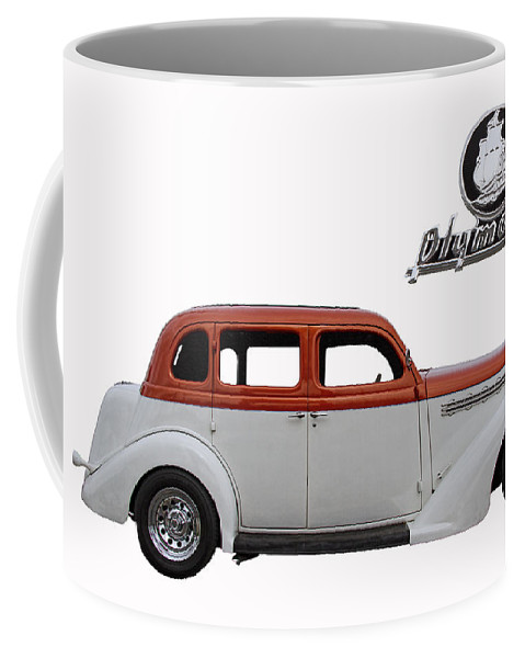 1935 Coffee Mug featuring the photograph 1935 Plymouth With Insignia by Nick Gray