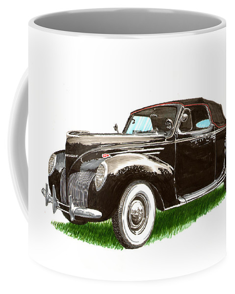 Black Convertibles Coffee Mug featuring the painting 1937 Lincoln Zephyer by Jack Pumphrey