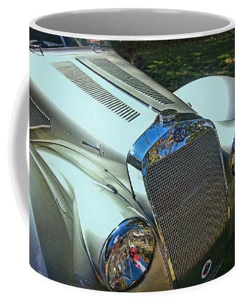 1938 Delage Aerodynamic Coupe Coffee Mug featuring the photograph 1938 Delage D8 - 120 Aerodynamic Coupe Front Grill by Allen Beatty