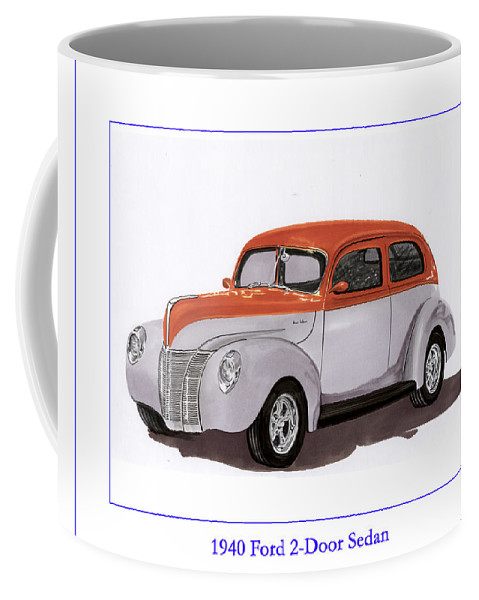 Automotive Prints Coffee Mug featuring the painting 1940 Ford Street Rod by Jack Pumphrey