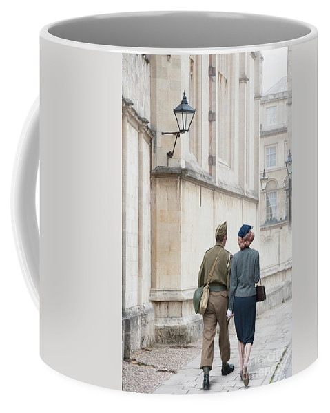 Woman Coffee Mug featuring the photograph 1940s Wartime Couple by Lee Avison