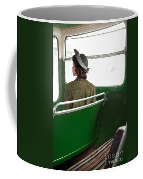 Woman Coffee Mug featuring the photograph 1940s Woman On A Bus by Lee Avison