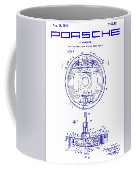 1941 porsche brake mechanism patent blueprint coffee mug for sale by front right view malvernweather Choice Image