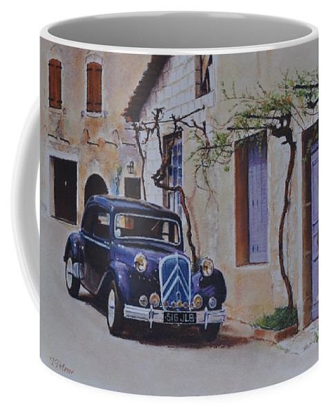 Classic Cars Coffee Mug featuring the pastel 1951's Citroen by Iliyan Bozhanov