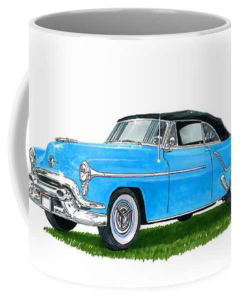 See This Artwork Of A 1953 Olds 98 Convertible By Jack Pumphrey At The 2017 Oldsmobile National Meets In Albuquerque Coffee Mug featuring the painting Oldsmobile 98 Convert by Jack Pumphrey
