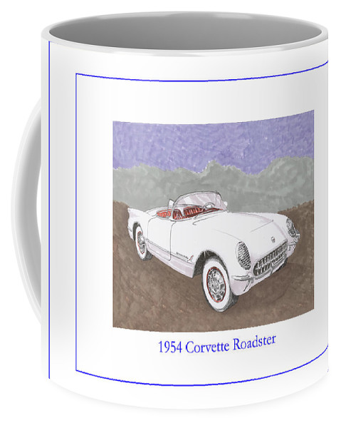 1954 Corvette Roadster Coffee Mug featuring the painting 1954 Corvette Roadster by Jack Pumphrey