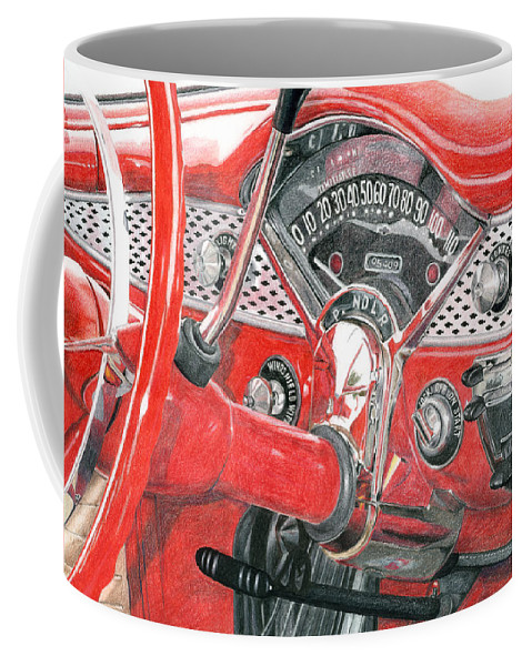Classic Coffee Mug featuring the drawing 1955 Chevrolet Bel Air by Rob De Vries