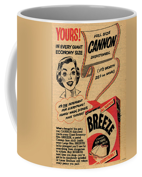 Wash Coffee Mug featuring the drawing 1955 Vintage Washing Powder Advert by Steve Ball