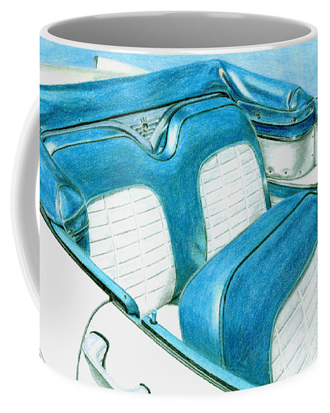 Americana Coffee Mug featuring the drawing 1956 Ford Fairlane Convertible 1 by Rob De Vries