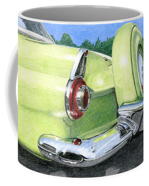 Classic Coffee Mug featuring the drawing 1956 Ford Thunderbird by Rob De Vries