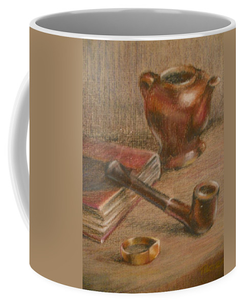 1950 Still Life - Teapot Coffee Mug featuring the pastel 1956 Still Life by Charles Vernon Moran