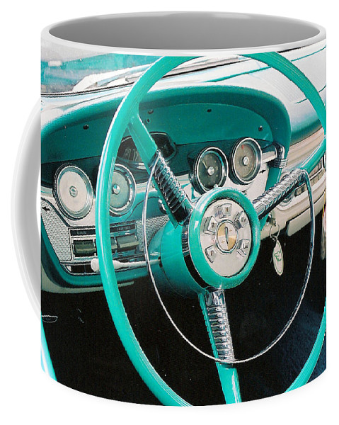 Edsel Coffee Mug featuring the photograph 1958 Edsel Pacer Dash by Lauri Novak
