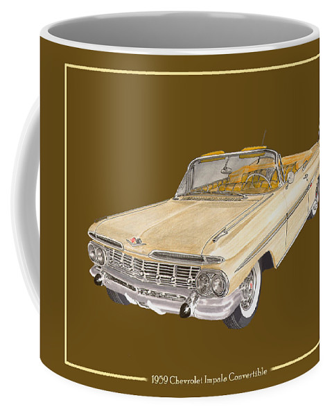 History Of The 1959-1960 Chevrolet Impala Coffee Mug featuring the painting 1959 Chevrolet Impala Convertible by Jack Pumphrey