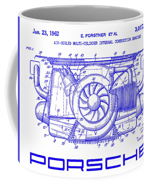 1962 porsche engine patent blueprint coffee mug for sale by jon front right view malvernweather Gallery