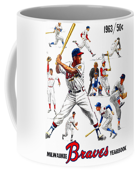 Milwaukee Braves Coffee Mug featuring the painting 1963 Milwaukee Braves Yearbook by John Farr