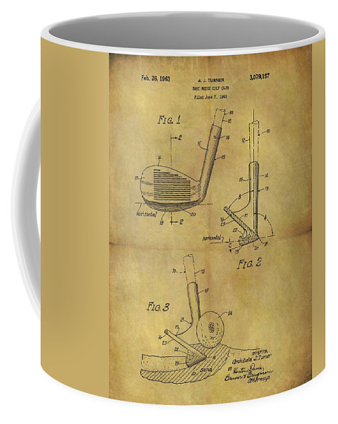 1963 Sand Wedge Patent Coffee Mug featuring the drawing 1963 Sand Wedge Patent by Dan Sproul