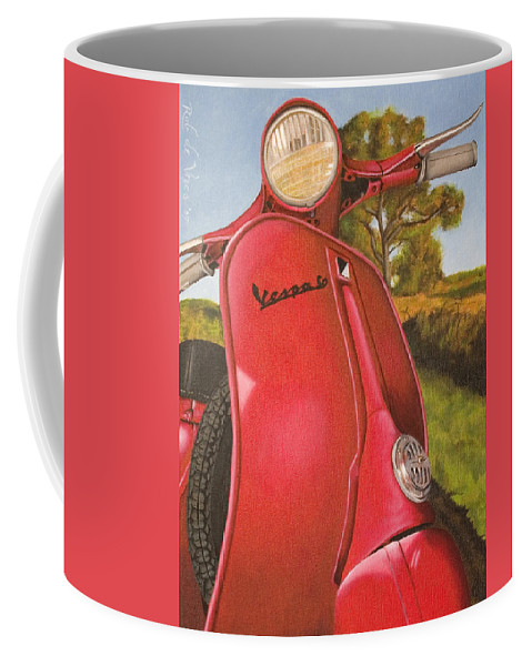 Scooter Coffee Mug featuring the painting 1963 Vespa 50 by Rob De Vries