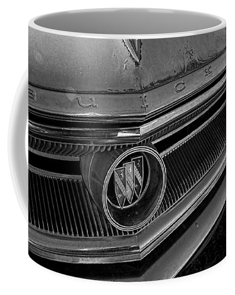 1933 Coffee Mug featuring the photograph 1965 Buick Hood Ornament B And W by Nick Gray