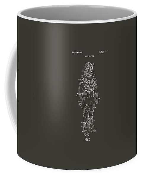Space Suit Coffee Mug featuring the digital art 1973 Astronaut Space Suit Patent Artwork - Gray by Nikki Marie Smith