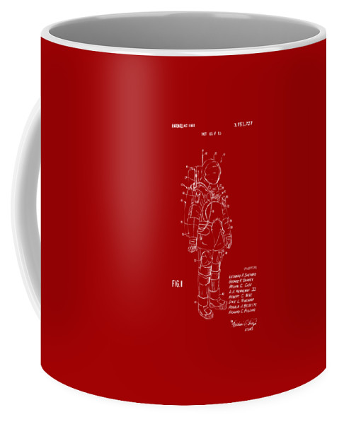 Space Suit Coffee Mug featuring the digital art 1973 Space Suit Patent Inventors Artwork - Red by Nikki Marie Smith