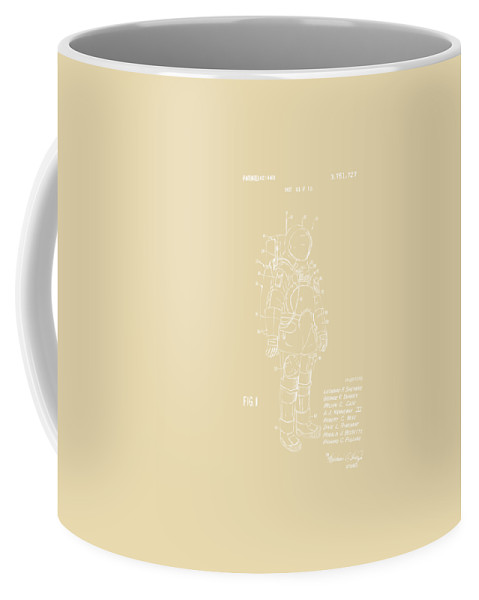 Space Suit Coffee Mug featuring the digital art 1973 Space Suit Patent Inventors Artwork - Vintage by Nikki Marie Smith