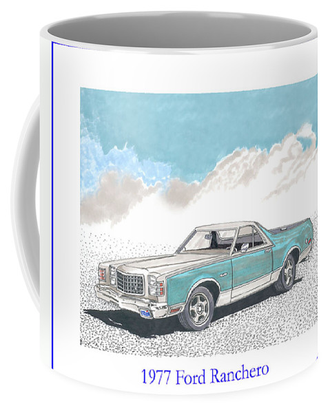 Automotive Prints Coffee Mug featuring the painting 1977 Ford Ranchero by Jack Pumphrey