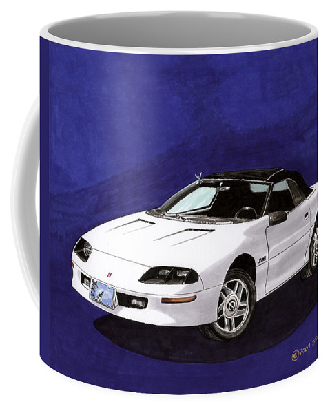 Framed Prints Of Great American Muscle Cars.framed Canvas Prints Of 1995 Camaro Convertible Coffee Mug featuring the painting 1995 Camaro Convertible by Jack Pumphrey