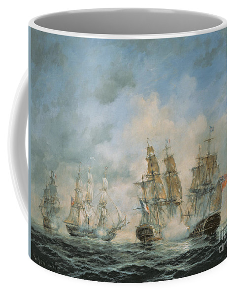 Seascape; Navel; Sea; Ship; Ships; Navel Engagement; Flag; Flags; Cloud; Clouds; Battle; Battling; Sailing; Sailing Ships Coffee Mug featuring the painting 19th Century Naval Engagement In Home Waters by Richard Willis